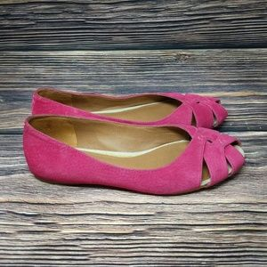 Lucky Brand Pink Suede Water Peep Toe Flats s 6